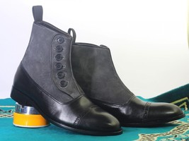 Handmade Men Ankle High Black Gray Button Boots, Men Leather Suede Fashi... - €148,12 EUR+