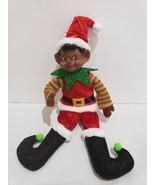 Christmas African American Pixie Elf Tree Knee Hugger Ornament Decor - $17.75