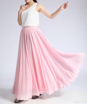 Pink MAXI CHIFFON SKIRT Women High Waisted Chiffon Maxi Skirt Plus Size image 9
