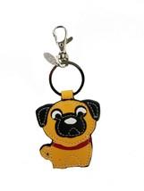 NWT Genuine Leather Dog Keychain Pug - $10.88