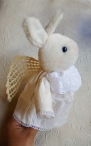 "CHERIBINA Bunny Rabbit Guardian Angel Wings Plush 9"" X 6.5"" Hallmark USE... - $12.22"