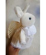 "CHERIBINA Bunny Rabbit Guardian Angel Wings Plush 9"" X 6.5"" Hallmark USE... - $12.22"