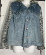 Women's Jessica Simpson Jean Jacket 2X Plus Denim Blue Hooded Zoe Pixie NWT - $39.59