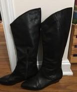 Calvin Klein Womens Mid Calf Riding Boots Black Leather SZ 6 EU 36.5 Flats - $19.79