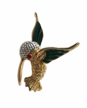 Vintage Marvella Costume Jewelry Hummingbird Humming Bird Brooch Pin - $20.19