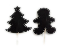 Chalkboard Picks Christmas Tree and Gingerbread Man Cupcake Toppers - $6.92