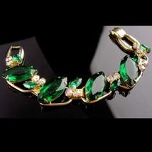 Vintage Juliana bracelet - green cluster - aurora borealis rhinestones -... - $95.00