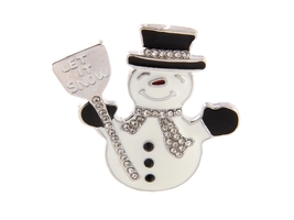 "Silvertone ""Let it Snow"" Christmas Snowman Pin Brooch - $11.95"