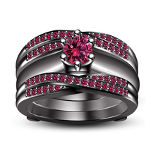 14k Black Gold Plated 925 Silver Round Cut Pink Sapphire Wrap Wedding Ring Set - $135.01
