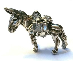 Donkey Mining Mule Gold Rush Fine Pewter Figurine -Approx. 7/8 inch tall  (T243) image 1
