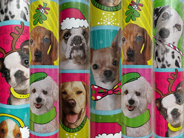 1 Roll Holiday Christmas Dogs Dress Up Christmas Wrapping Paper  - $24.68
