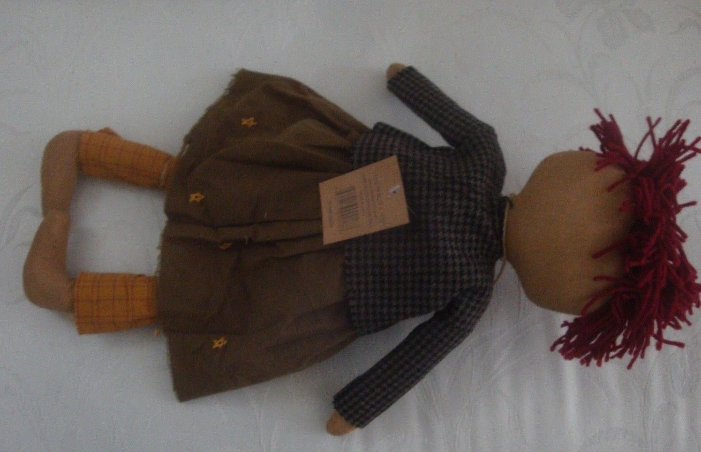 "Addy & Her Crow Rag Doll  Country Prim Primitive Style Folk Art  22""  New"