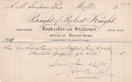 Robert Knight Office of Moffat News 1898 Advert Property For Sale Invoic... - $7.59
