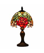 Lighting Tiffany Table Lamp W8H14 Inch Red Rose Stained Glass Shade Ligh... - $230.13