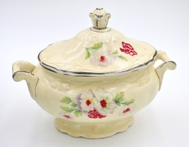 Vintage Homer Laughlin Virginia Fluffy Rose Platinum Trim Sugar Bowl Lid K53N8 - $29.69