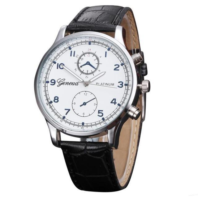 Relojes 2017 New Fashion Geneva Watch Men Faux Leather Wristwatches For Men Casu