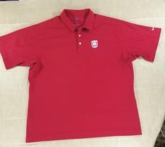 Nike Golf Sphere Dry Pebble Texture Polo Shirt The Neuse Logo Mens 2XL Red White - $23.26