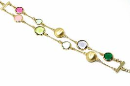 925 STERLING SILVER YELLOW BRACELET SATIN NUGGETS, DOUBLE WIRE, GLASS PASTE image 3