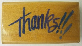 Stampendous Rubber Stamp Thanks!!! L043 Brush Style 1994 - $3.99