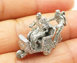 925 Sterling Silver - Vintage Sculpted People In Carriage Petite Pendant... - $26.46