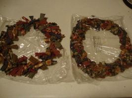 SALE / 2 homespun material tie wreaths / nice - $13.32