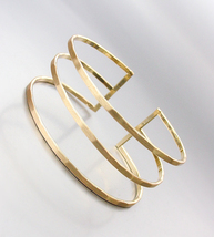 CHIC Minimalist Urban Artisanal Gold Ribbed Sculpted Cage Cuff Bracelet - $18.99
