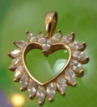 Vintage Gold Vermeil Over Sterling Heart Pendant Hallmarked 925 CZ - $22.50