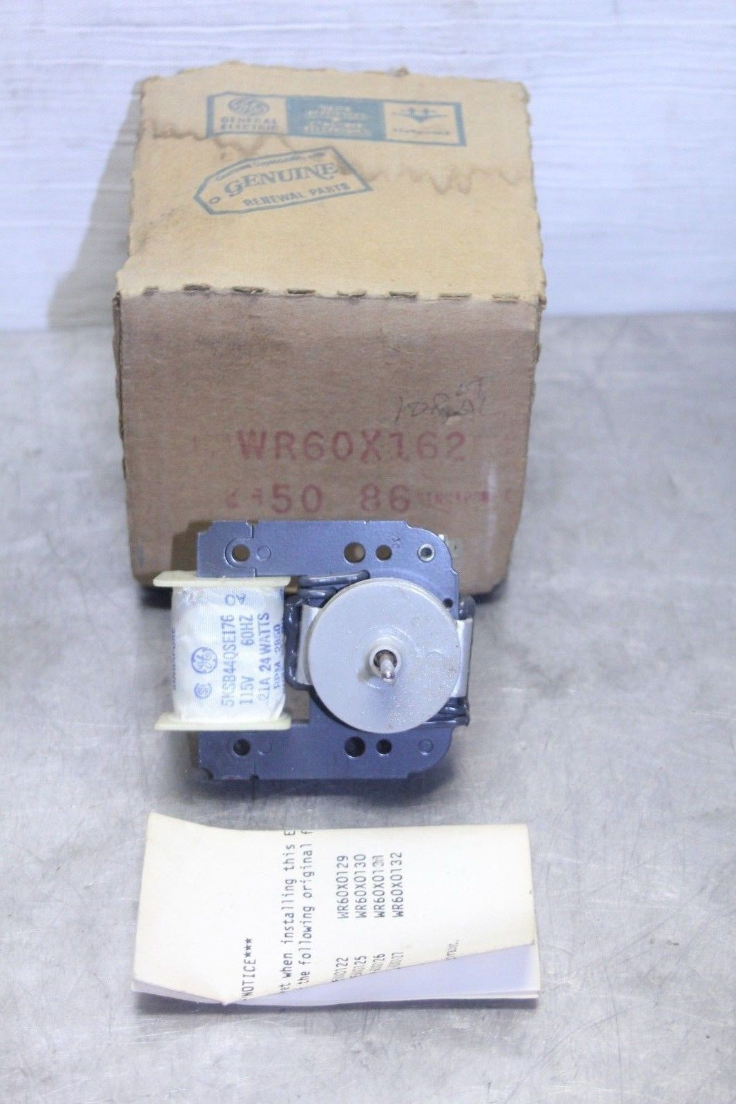 Primary image for GE PART NO: WR60X162 Refrigerator Evaporator Fan Motor