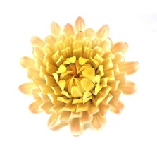 BIJAN Handcrafted Yellow Pink 5.5in Mum Ceramic Flower for Crafts Sculpt... - $10.50