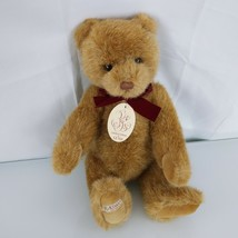 "BALTMANS Ltd Edition Gund Teddy Bear 1987 15"" jointed Burgundy bow Tan Brown - $148.47"