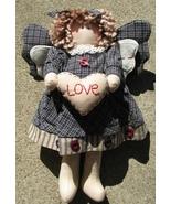 Primitive Decor  41890BL- Blue Plaid Love Angel  - $12.95