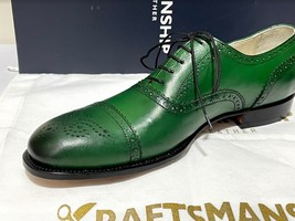 Handmade Men's Green Leather Brogues Style Lace Up Dress/Formal Oxford Shoes image 3