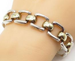 IBB 925 Silver - Vintage Two Tone Open Link Shiny Chain Bracelet - B5589 - $72.09
