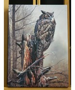 Great Horned Owl Bird Art Made in USA Canvas Giclee Gallery Wrapped Prin... - $44.50