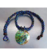 Abalone Mosaic Beaded Rope Pendant Necklace Hand Made 1980s Copper Blue ... - $24.00