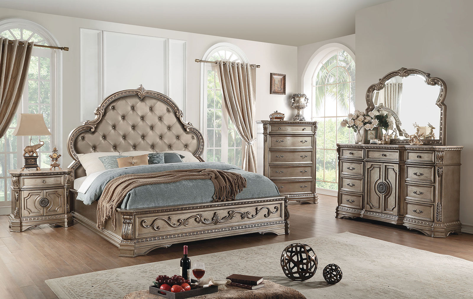 new champagne finish 5 pieces marble bedroom set w queen
