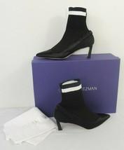 Stuart Weitzman Black Bling Rhinestone Silk Satin Sock Pump Bootie Women's 37/ 7 - $395.51
