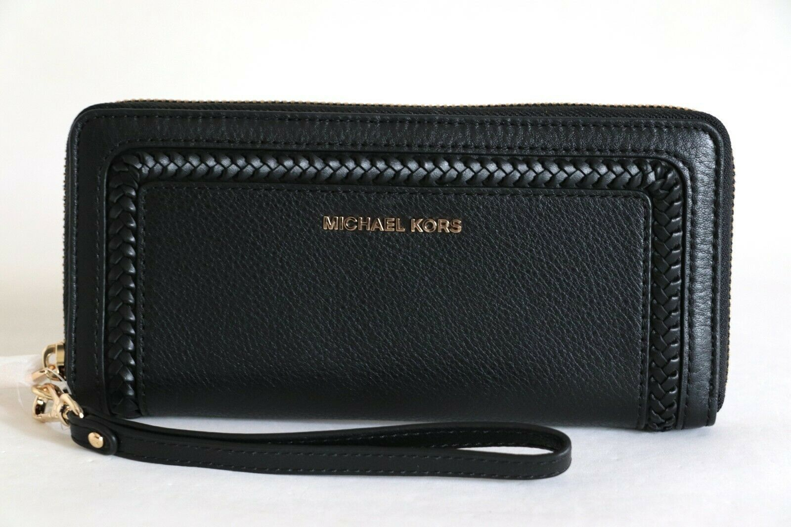 Primary image for NWT MICHAEL KORS LEXINGTON LEATHER LARGE TRAVEL WALLET WRISTLET BLACK