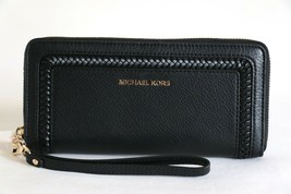 NWT MICHAEL KORS LEXINGTON LEATHER LARGE TRAVEL WALLET WRISTLET BLACK - $120.94