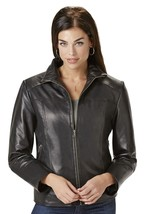 Excelled Women's Leather Scuba Jacket Soft Supple Black XL NWT - $141.25