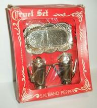 Vintage Cruet Set Silver Plastic Salt & Pepper Shakers w/Tray In Box 50's - $14.85