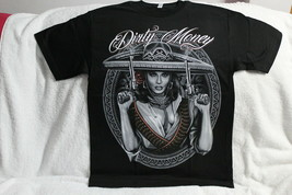 SEXY WOMAN LADY GANGSTER PISTOL GUN BULLET SOMBRERO DIRTY MONEY T-SHIRT - $11.77