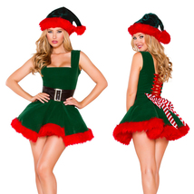 Christmas Green Red Dress Hat Xmas Halloween Part Cosplay Costume - $28.41