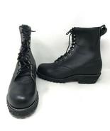 VTG Black Leather Deadstock Prison Issue Boots Sz 11.5 E Wide Vibram Soles - $98.99