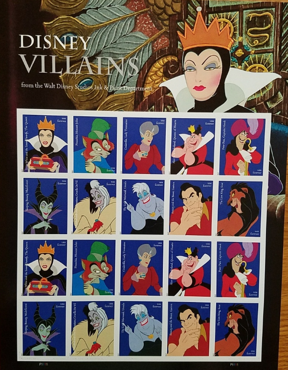 DISNEY VILLAINS 2017 (USPS) STAMP SHEET 20 FOREVER STAMPS