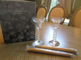Cristal D' Arques France Pair Of Millennium Crystal Candlesticks W/GOLD Sticks - $8.86