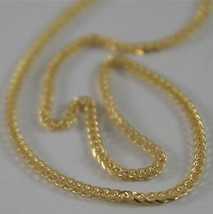 SOLID 18K YELLOW GOLD CHAIN NECKLACE WITH EAR LINK 15.75 INCHES, MADE IN ITALY image 2