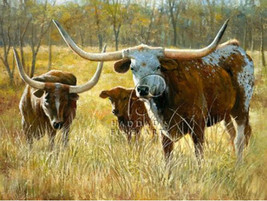 Longhorns by Bill Davies Western Animals Landscape Stretched Canvas Giclee 32x24 - $345.51