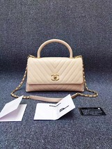 100% AUTHENTIC CHANEL 2017 CHEVRON QUILTED CALFSKIN COCO HANDLE BAG BEIGE GHW image 2