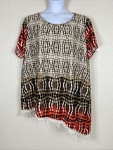 Sunny Leigh Womens Plus Size 3X Geometric Asymmetrical Tunic Short Sleev... - $15.84